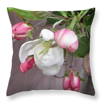 Throw Pillow featuring the digital art Crabapple Blossoms Miniature by Donald S Hall
