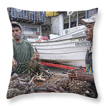 Crabbers At Popotla Throw Pillow