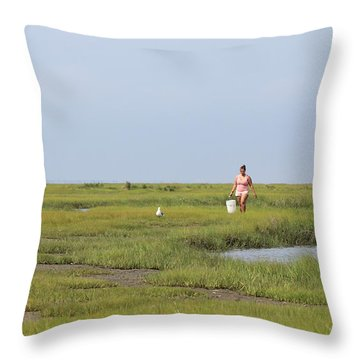 Crabbing At Mystic Island Throw Pillow