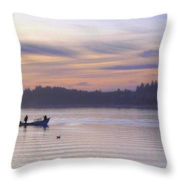 Crabbing At Night Throw Pillow