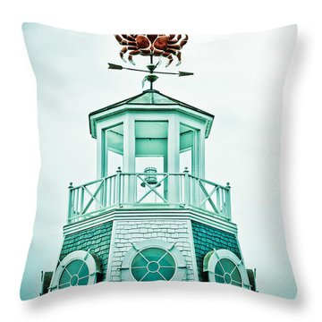 Crabby Weathervane Throw Pillow by Marilyn Hunt