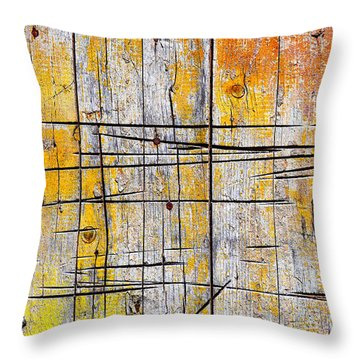 Cracked Wood Background Throw Pillow by Carlos Caetano