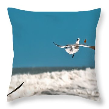 Throw Pillow featuring the photograph Cracker Tracker by DigiArt Diaries by Vicky B Fuller