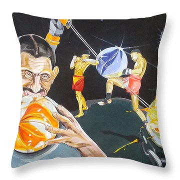 Throw Pillow featuring the painting Cracking Marvels Cascando Canicas by Lazaro Hurtado
