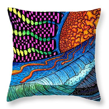 Crackle Sun Throw Pillow by Sam Bernal