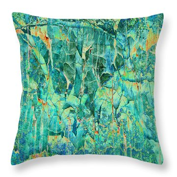 Cracks In Blue Throw Pillow