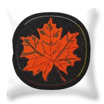 Cradleboard Beadwork Fall Maple Leaf Throw Pillow