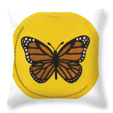 Cradleboard Beadwork Spring Butterfly Throw Pillow