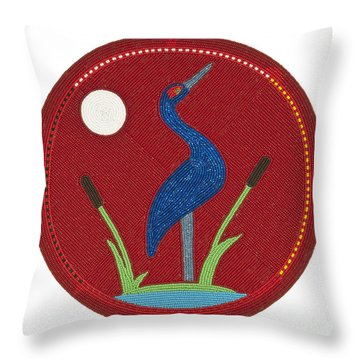 Cradleboard Beadwork Summer Crane Throw Pillow