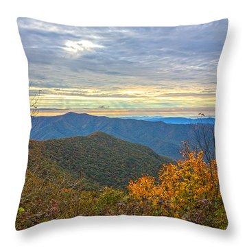 Craggy Sunrise Throw Pillow by John Haldane