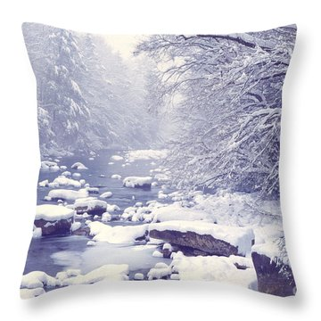 Cranberry River Heavy Snow Throw Pillow