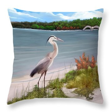 Crane By The Sea Shore Throw Pillow