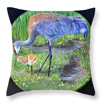 Throw Pillow featuring the painting Crane Circle by AnnaJo Vahle