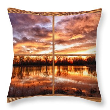 Crane Hollow Sunrise Barn Wood Picture Window Frame View Throw Pillow by James BO  Insogna