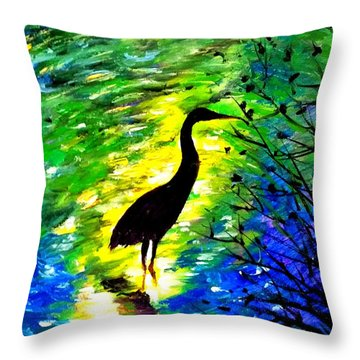 Crane In Lake Throw Pillow