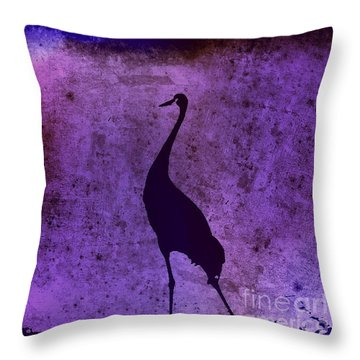 Crane In Vintage Plum Throw Pillow by Anita Lewis