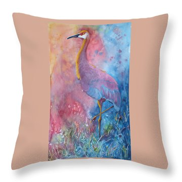 Crane Throw Pillow by Nancy Jolley