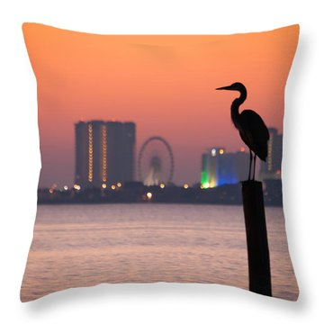 Crane On A Pier Throw Pillow