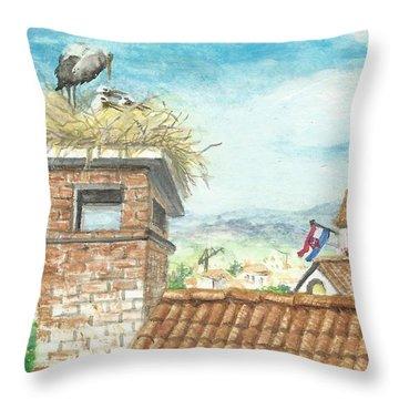 Cranes In Croatia Throw Pillow