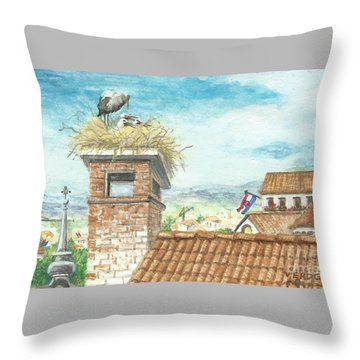 Cranes In Croatia Throw Pillow
