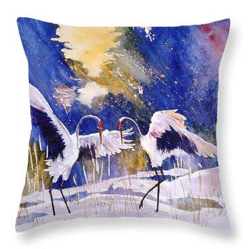 Cranes In Winter Inspired By Quan Zhen Throw Pillow