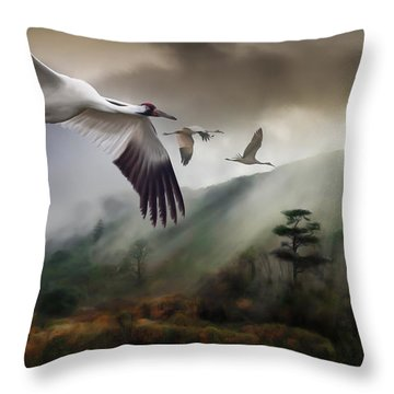 Cranes Over Mingxi Throw Pillow