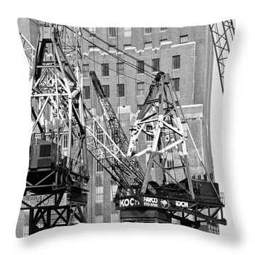 Cranes Ready For Action Throw Pillow