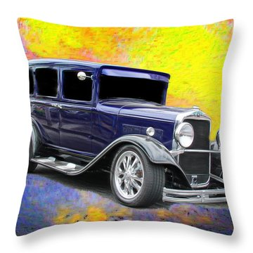 Old Car Throw Pillow featuring the photograph Crank It  by Aaron Berg
