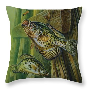 Crappie And Bridge Support Throw Pillow by Jon Q Wright