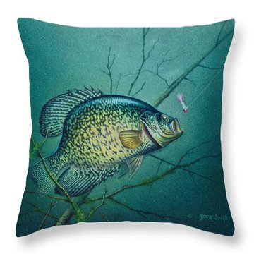 Crappie And Pink Jig Throw Pillow