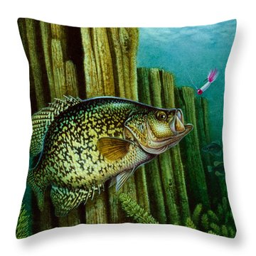 Crappie And Posts Throw Pillow by Jon Q Wright