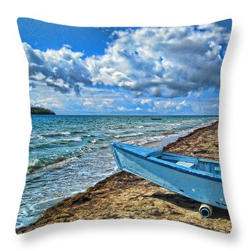 Crash Boat Throw Pillow by Daniel Sheldon