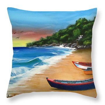 Crashboat Beach Wonder Throw Pillow by Luis F Rodriguez