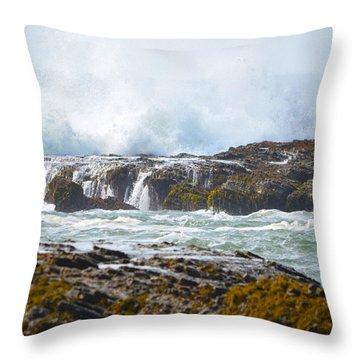 Crashing Surf Throw Pillow by Deprise Brescia