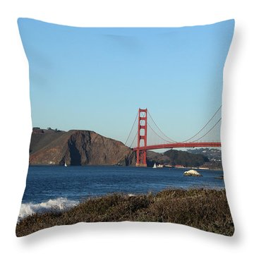 Crashing Waves And The Golden Gate Bridge Throw Pillow