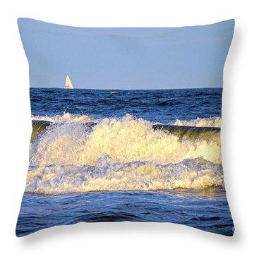 Crashing Waves And White Sails Throw Pillow