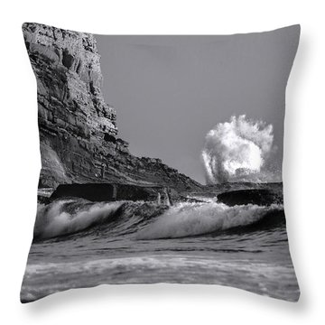 Crashing Waves At Cabrillo By Denise Dube Throw Pillow