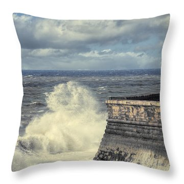 Crashing Waves Throw Pillow by Amanda Elwell
