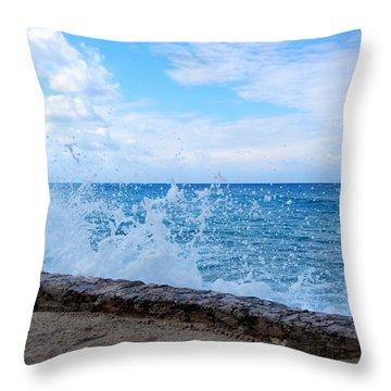 Crashing Waves In Cozumel Throw Pillow by Debra Martz