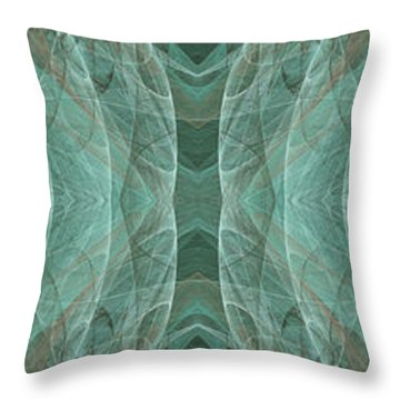 Crashing Waves Of Green 1 - Panorama - Abstract - Fractal Art Throw Pillow by Andee Design
