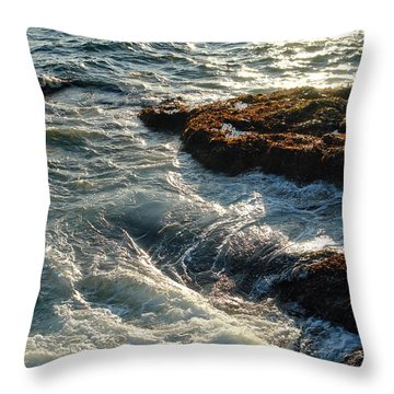 Crashing Waves Throw Pillow by Olivier Le Queinec