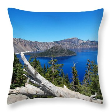 Crater Lake And Fallen Tree Throw Pillow by Debra Thompson