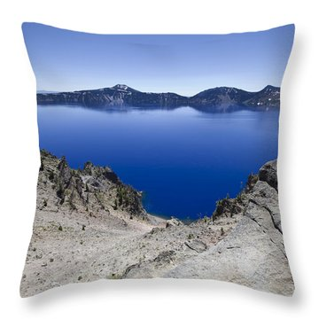 Crater Lake Throw Pillow by David Millenheft