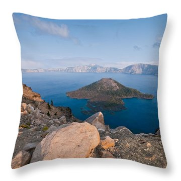 Crater Lake In The Evening Throw Pillow