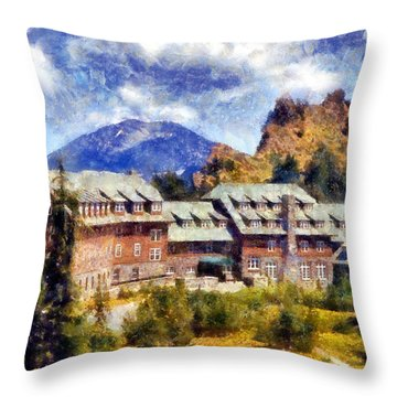 Crater Lake Lodge Throw Pillow