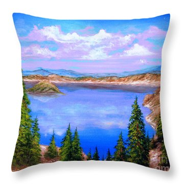 Crater Lake Oregon Throw Pillow by Patrice Torrillo
