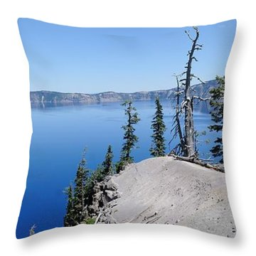 Crater Lake Scenic Panorama Throw Pillow by John Kelly