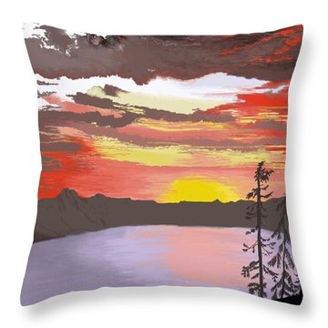 Throw Pillow featuring the digital art Crater Lake by Terry Frederick