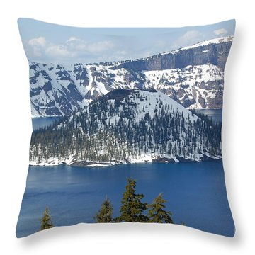 Throw Pillow featuring the photograph Crater Lake With Snow by Debra Thompson