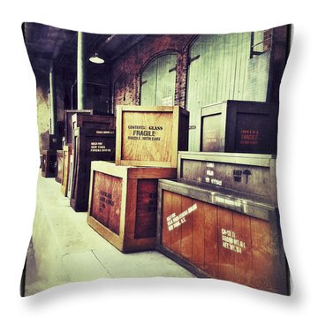 Crates And Crates Throw Pillow by Gerry Robins